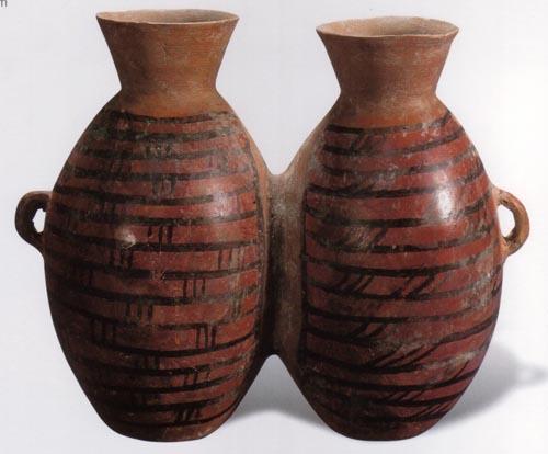 彩陶双连壶